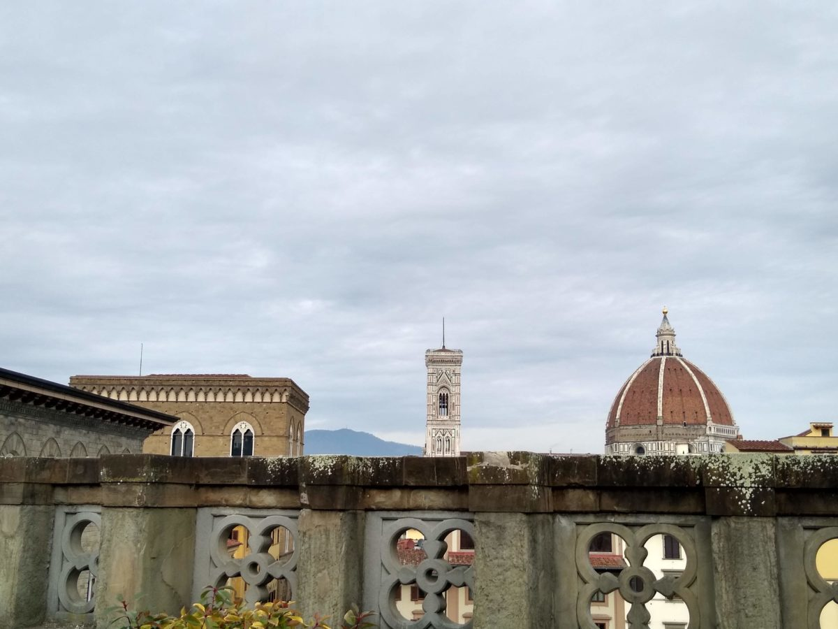 History of Florence - View of Duomo and Campanile from Uffizi terrace.